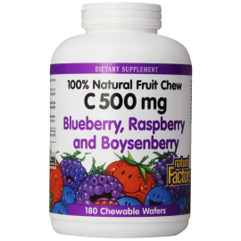 Natural Factors Vitamin C Blueberry Raspberry Boysenberry Chewables 500mg Wafers 180-Count 1