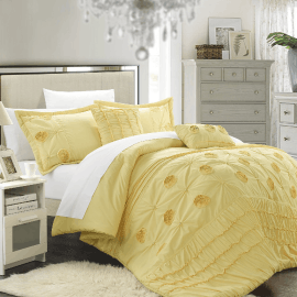 Chic Home 5 Piece Florentina Floral Pleated Comforter Set  Queen  Yellow_01.png
