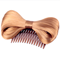 bow_hair_extension_bowknot_brown_comb_clip_fashion_hairpiece_party_1