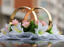 Wedding rings on the car