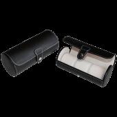 Black 3 Watch Leatherette Roll Travel Traveler's Watch Storage Organizer Collector Case _3