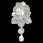 Bridal Silver-Tone Orchid Flower Teardrop Brooch Pendant Clear Austrian Crystal_2
