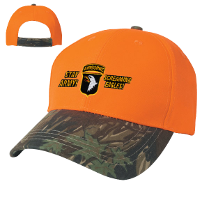 Camo Top Orange Bill 2 Tone Cap 1