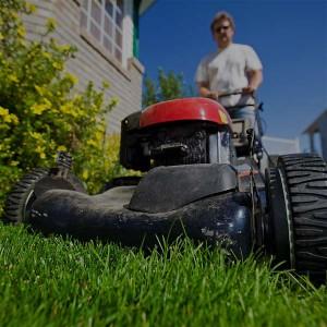 Man mowing...