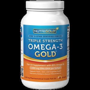 Omega-3 Fish Oil - NutriGold Triple Strength Omega-3 Gold 180 Softgels 1
