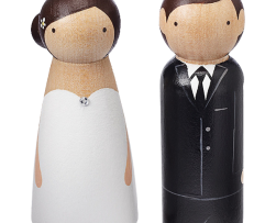 Hand-painted Wooden Couple Cake Topper 1