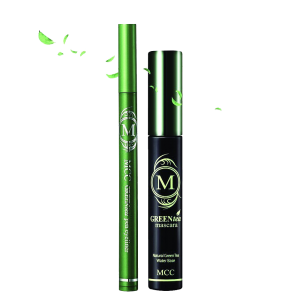 MCC ECOCERT Organic Green Tea Volumizing Mascara and Black Eyeliner Waterproof Set 6
