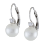 Sterling Silver Shell Pearl and Cubic Zirconia Lever Back Earrings_1