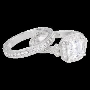 Sterling Silver Swarovski Zirconia Asher Antique Wedding Ring Set_3