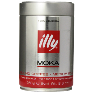 illy Medium Roast Ground Moka Coffee for Stovetop Coffeemakers 8.8 ounce can 1