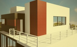 Modern private house exterior 3d