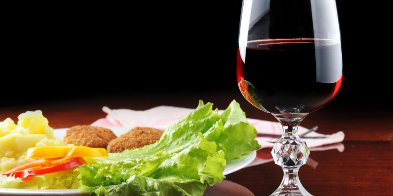 roasted cutlets and  wine