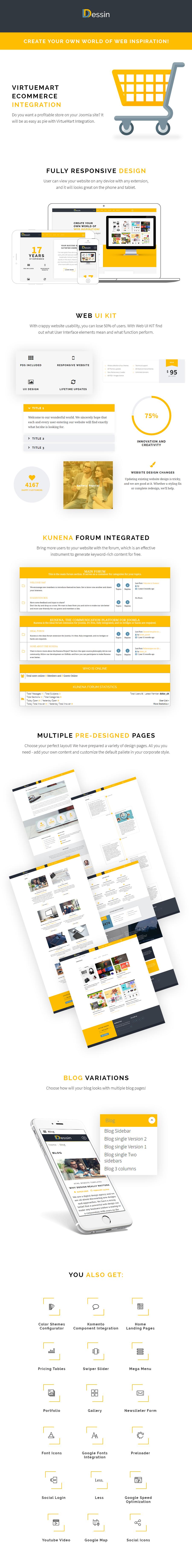 dessin features - Dessin - Multipurpose Responsive Joomla theme