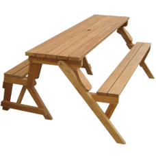 Wood Picnic Table Garden Bench in Natural