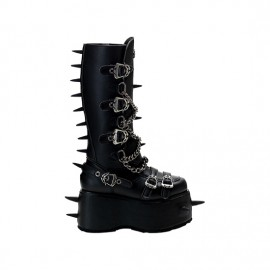 FIERCE-130 Black Strap Calf Boots