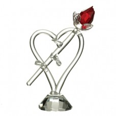 Red rose on heart crystalline sculpture