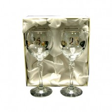 Silver Wedding Anniversary Wine Glasses