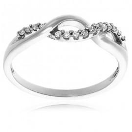 10k Choice of White or Yellow Gold Diamond Infinity Twist Ring