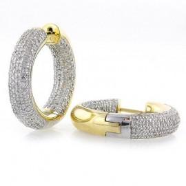 14K YG 2.00ct Diamond Inside Out Hoop Earrings
