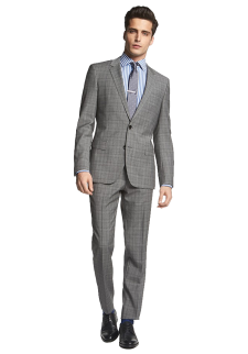 Huge-Genius Extra Trim Fit Plaid Suit