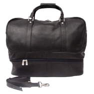 Piel Leather False Bottom Sports Bag Travel Duffles