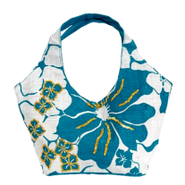 Olive N Figs Turquoise Blue Hawaiin Floral Sequined Jute Handbag-Tote