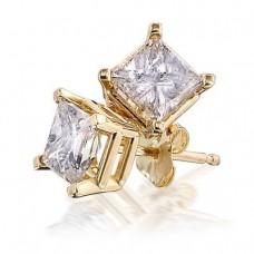 14K Yellow Gold Princess Diamond Stud Earrings