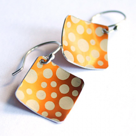 Orange Dots Square Earrings