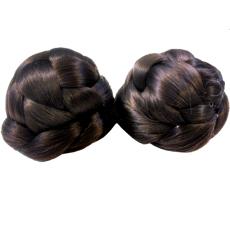 Braided Odango Wig Buns Dark Brown