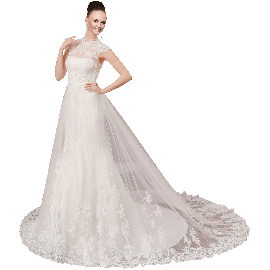 A-plum White Sleeveless Ball Gown In Lace Wedding Dress