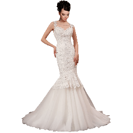A-plum White Strap Ball Gown In Lace Wedding Dress