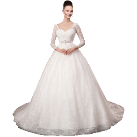 A-plum White V-Neck Ball Gown In Lace Wedding Dress