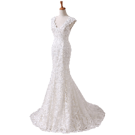 Angel Formal Dress Women's V-neck Lace Wedding Dress for Bride