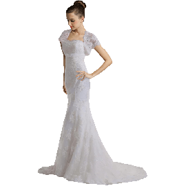 BuyChic luxury vintage capped sleeves mermaid lace Wedding dress