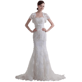 GEORGE BRIDE luxury vintage capped sleeves mermaid lace Wedding dress