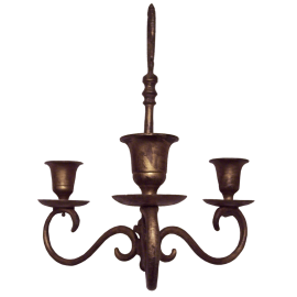 Antiqued Brass Finished Metal 3 stick Candle Holder