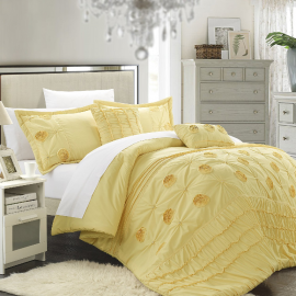 Chic Home 5 Piece Florentina Floral Pleated