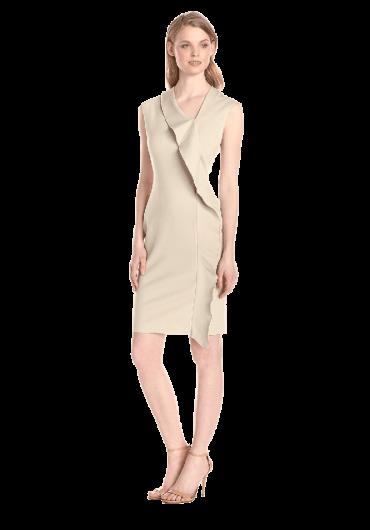 Asymmetrical Neck Ruffle Dress