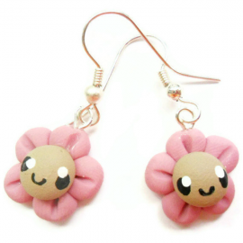 Kawaii Earrings Pink Flower Polymer Clay