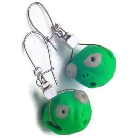 Polymer Clay Earrings. Dangle Earrings. Alien Earrings