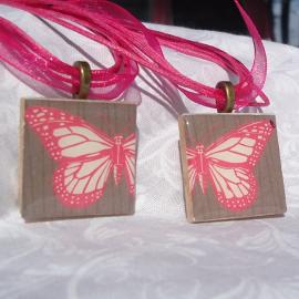 Friendship Pendants, Pink Butterfly, Two Pendant Set