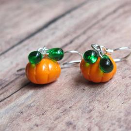 Pumpkin Earrings - Halloween Orange Czech Glass Pumpkin Beads