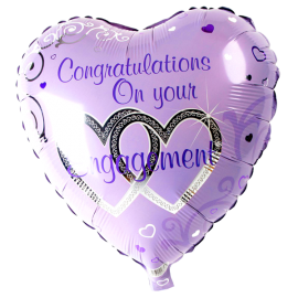 Congratulations on your Engagement' Foil Heart Helium Balloon