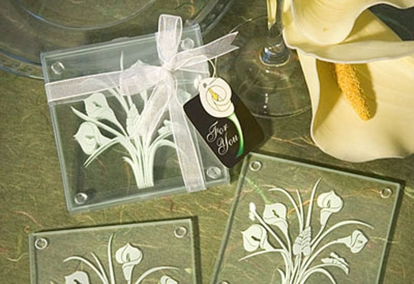 Calla Lily Bouquet Design Glass Coaster Sets