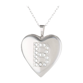 Momento Lockets Silver Swarovski Crystal Initial B Locket Necklace