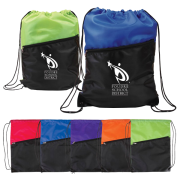 2 Tone W-zipper Drawstring Backpack
