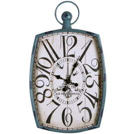 Adeco Distressed Green-Blue Iron Vintage-Inspired Pocket Watch Style Wall Hanging Clock -Bonbons Fins- Home Decor