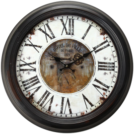 Adeco Vintage-Inspired Brown Round WallHanging Clock -Hotel De Ville- Key Detail Home Decor