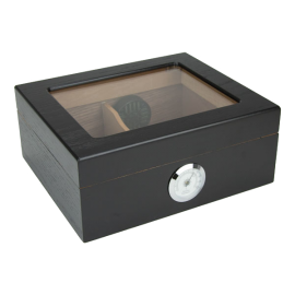 The Capri 25-50 Cigar Black Glass Top Humidor
