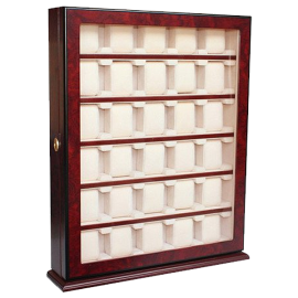 30 Piece Cherry Wood Rosewood Watch Display Wall Hanging Case and Storage Organizer Box and Stand